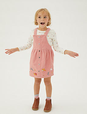 2pc Pure Cotton Embroidered Pinafore Outfit (2-7 Yrs)