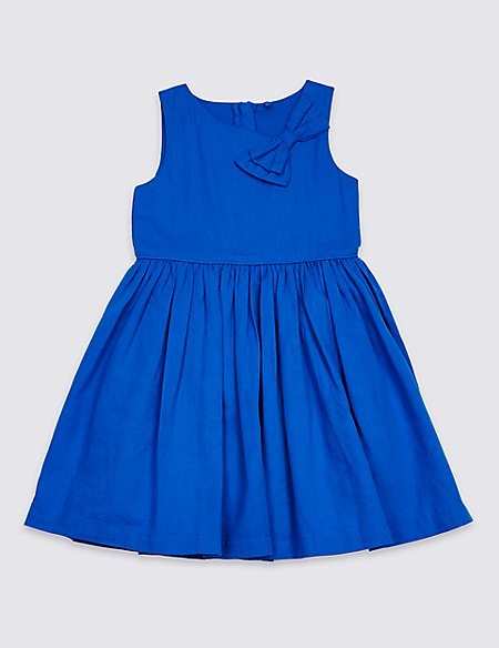 Pleated Bow Dress (3 Months - 7 Years)