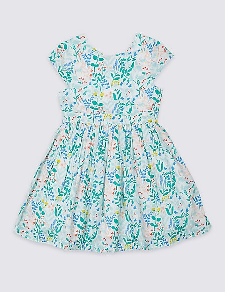 Pure Cotton Floral Dress (3 Months - 7 Years)