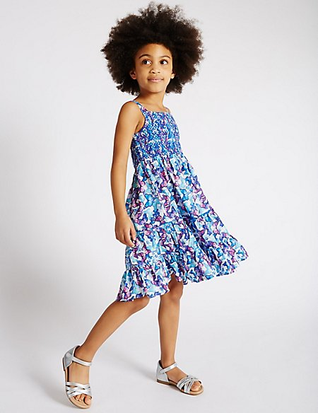 Pure Cotton Butterfly Print Dress (1-7 Years)