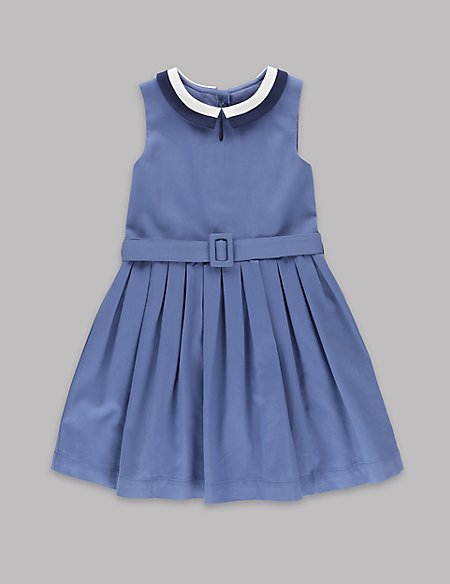 Pure Cotton Peter Pan Collar Belted Dress (1-7 Years)
