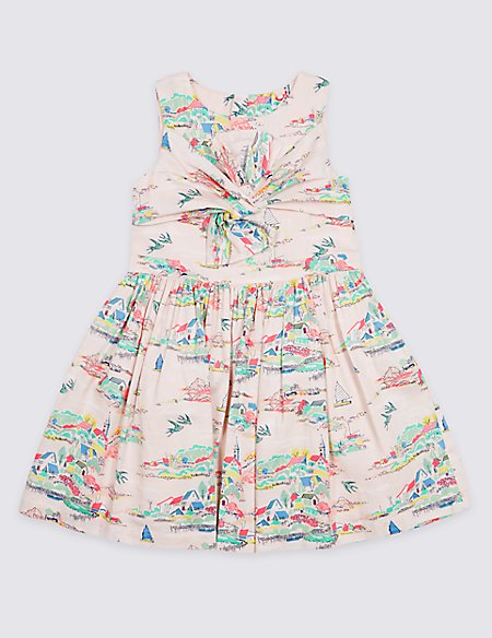 Bow Pure Cotton Dress (3 Months - 7 Years)