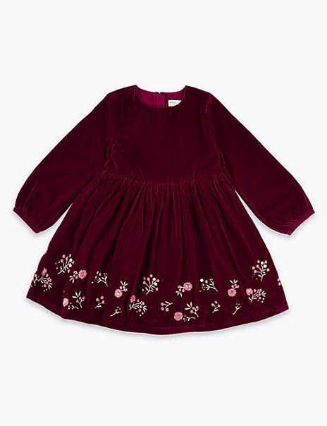 Velvet Embellished Dress (3 Months - 7 Years)