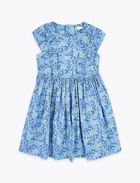 Cotton Floral Frill Dress (2-7 Years)