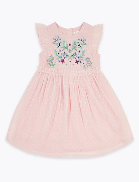 Chiffon Floral Embroidered Dress (2-7 Years)
