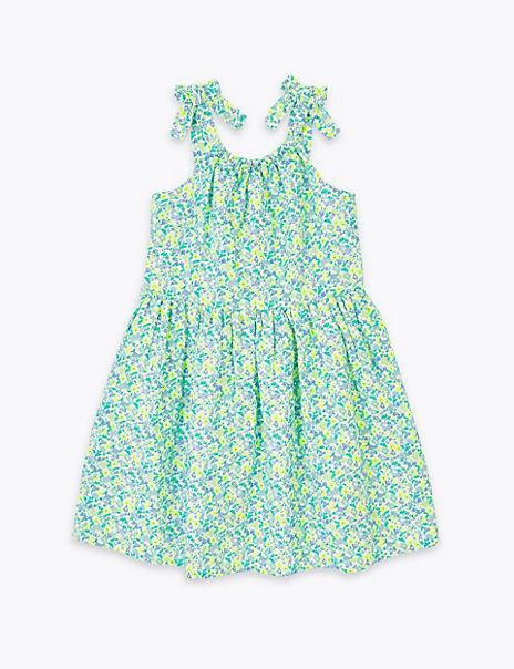 Floral Print Shoulder Tie Dress (2-7 Years)