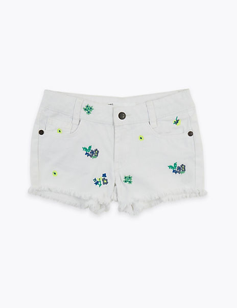 Regular Denim Embroidered Floral Shorts (2-7 Yrs)