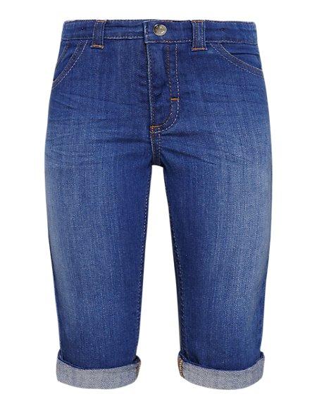 Cotton Rich Adjustable Waist Denim Long Shorts (1-7 Years)