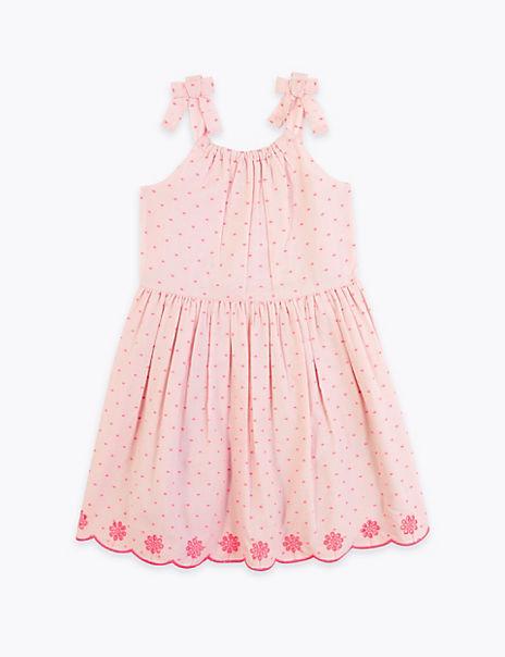 Cotton Rich Broderie Shoulder Tie Dress (2-7 Yrs)