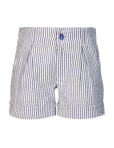 Pure Cotton Adjustable Waist Striped Shorts (1-7 Years)