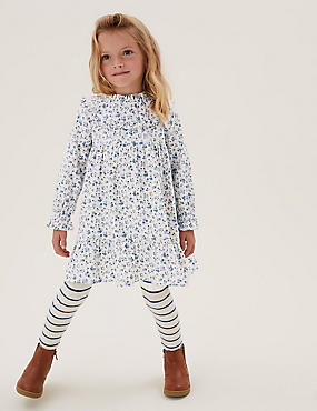 Pure Cotton Floral Print Frill Dress (2-7 Yrs)