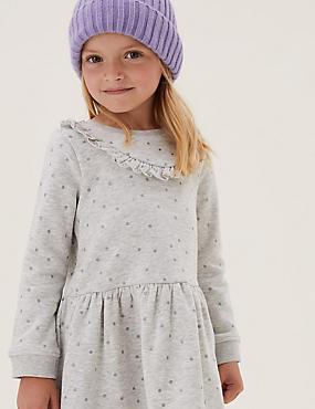 Cotton Glitter Spotted Dress (2-7 Yrs)
