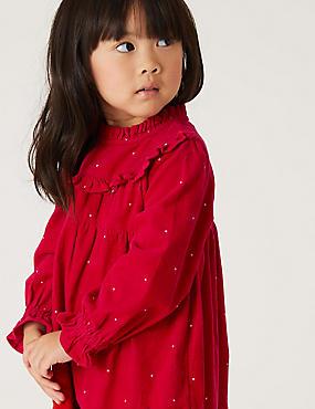 Vestido y medias de algodón 100% de pana con topos (2-7años)