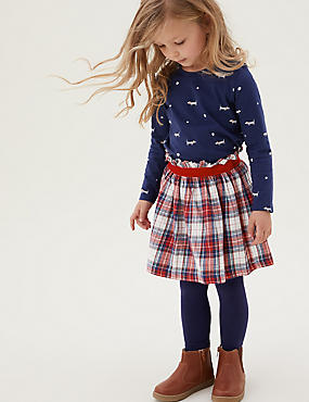 Pure Cotton Checked Skirt (2-7 Yrs)