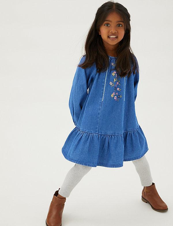 Robe en jean à détail fleuri brodé (du 2 au 7ans)