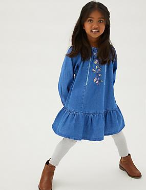 Denim jurk met geborduurd bloemmotief (2-7 jaar)