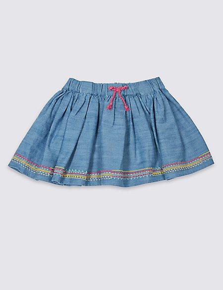 Denim Embroidery Hem Skirt (1- 5 Years)