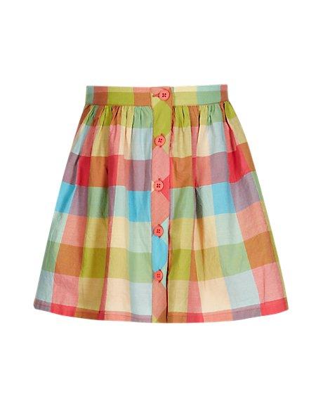 Pure Cotton Adjustable Waist Checked Skirt (1-7 Years)