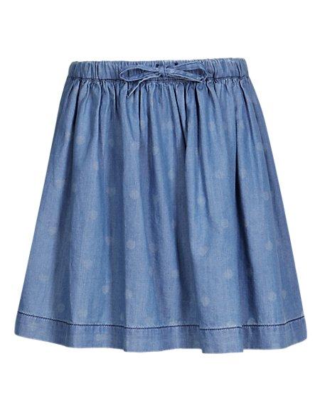 Pure Cotton Spotted & Heart Print Denim Skirt