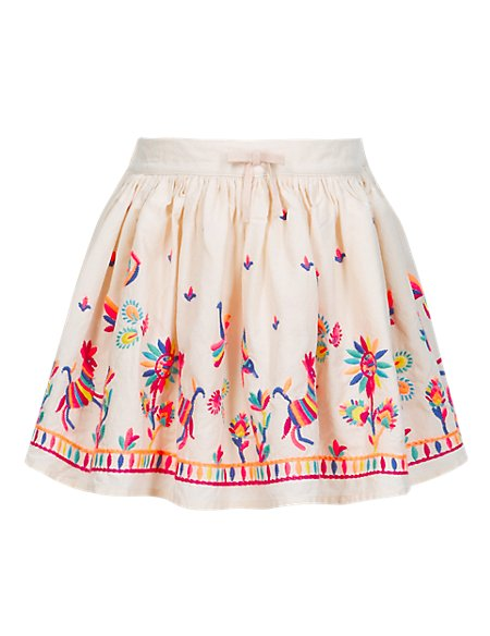 Pure Cotton Narrative Embroidered Skirt