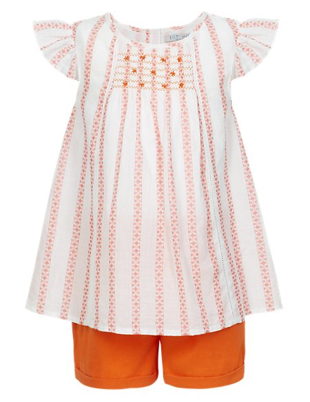2 Piece Pure Cotton Top & Shorts Girls Outfit (1-7 Years)