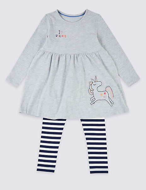2 Piece Cotton Unicorn Outfit (3 Months - 7 Years)