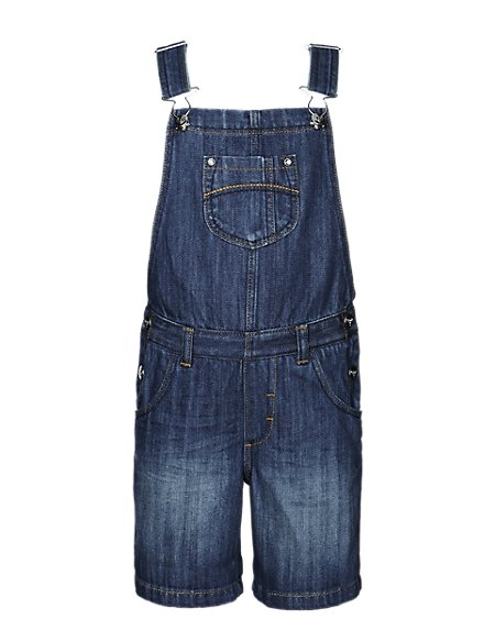 Pure Cotton Dungaree Shorts (1-7 Years)