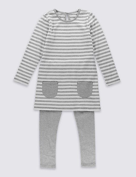 2 Piece Pure Cotton Jersey Striped Outfits (3 Months - 5 Years)
