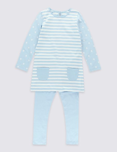 Pure Cotton Long Sleeve Striped Outfit (3 Months - 5 Years)