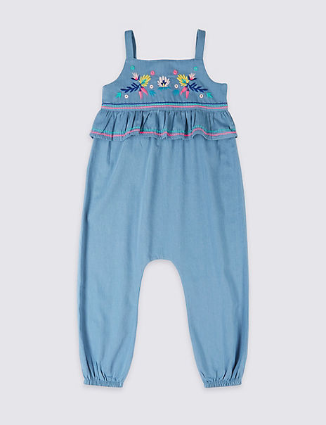 Pure Cotton Embroidered Jumpsuit (3 Months - 7 Years)