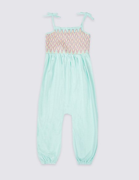 Pure Cotton Shirring Jumpsuit (3 Months - 7 Years)