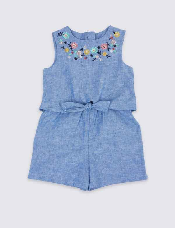 0445f8763e5 Cotton Rich Chambray Playsuit (3 Months - 7 Years)