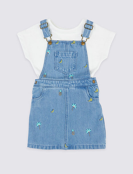 2 Piece Embroidered Pinafore with T-Shirt Outfit (3 Months - 7 Years)