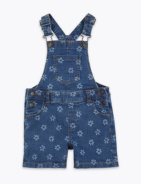 Laser Flower Print Short Dungarees (2-7 Years)
