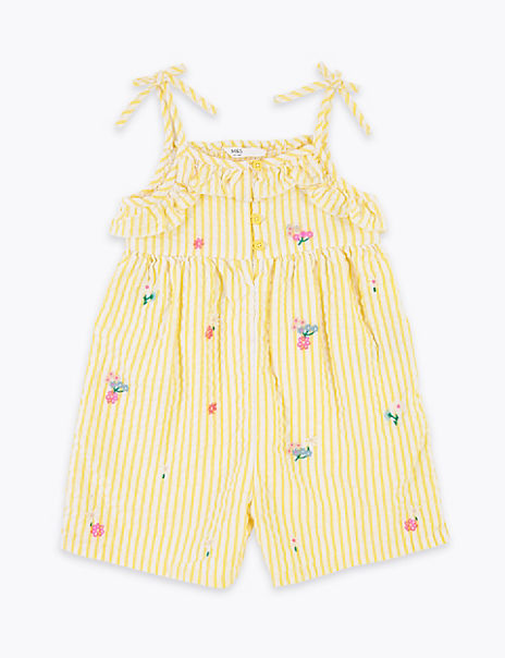 Cotton Embroidered Striped Playsuit (2-7 Years)