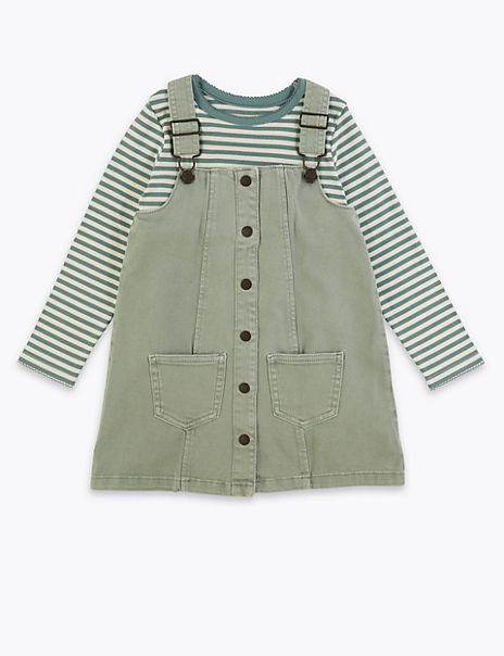 Denim Pinny & Striped Top Outfit (2-7 Years)