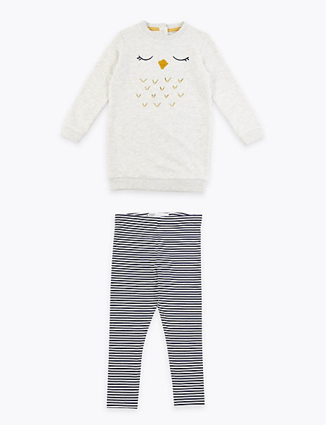 2 Piece Owl Print Striped Outfit (3 Months - 7 Years)