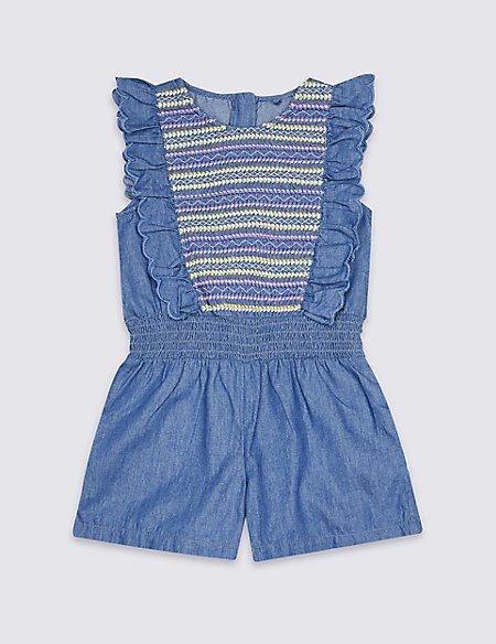 Embroidered Playsuit (3 Months - 7 Years)