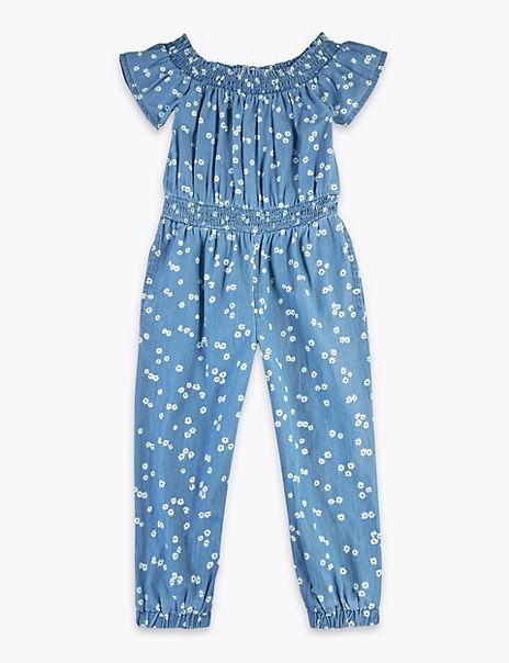 Chambray Daisy Print Jumpsuit (2-7 Years)