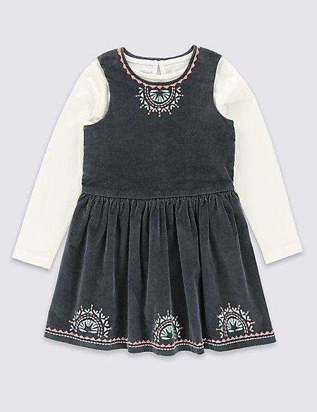 2 Piece Pure Cotton T-Shirt & Cotton Rich Dungarees Outfit (1-7 Years)
