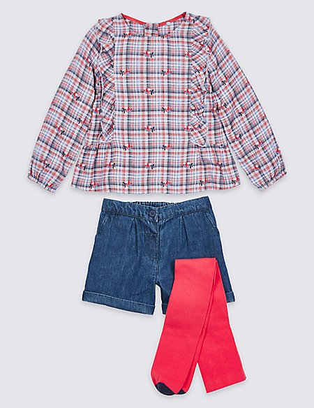 3 Piece Top & Shorts with Tights (3 Months - 7 Years)
