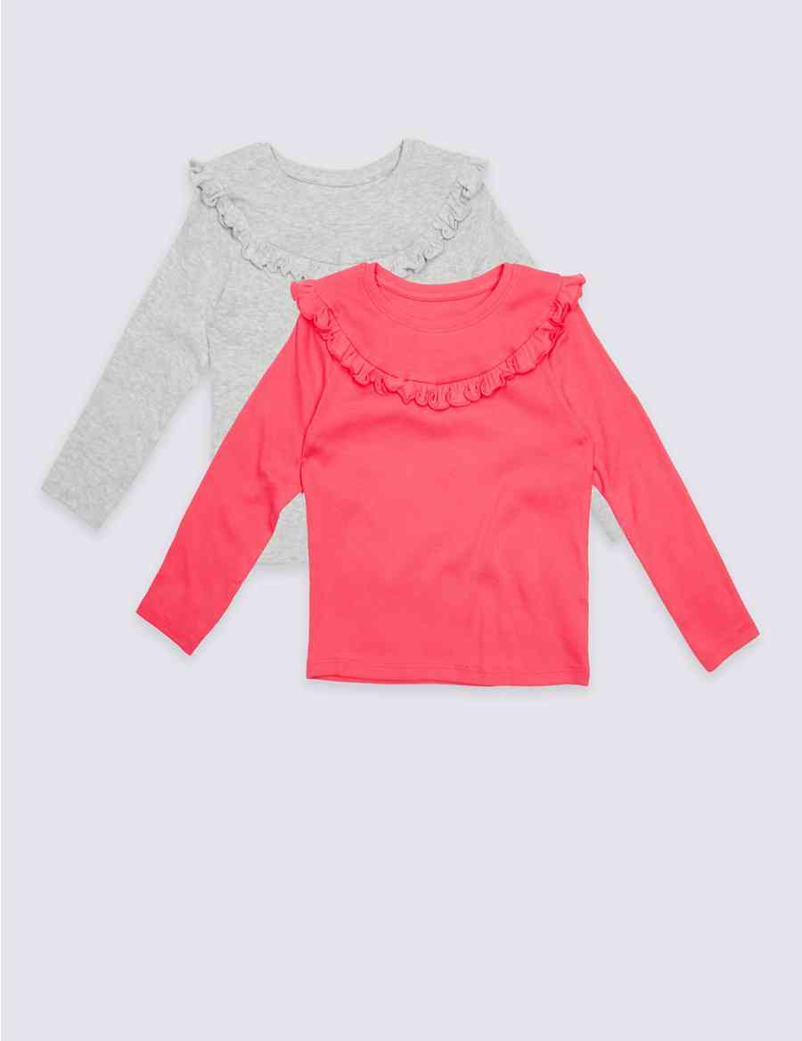dc8c7f39ce762 2 Pack Cotton Rich Frill Tops (3 Months - 5 Years)