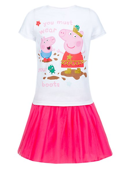 3 Piece Peppa Pig™ Top, Skirt & Crown Girls Outfit (1-7 Years)