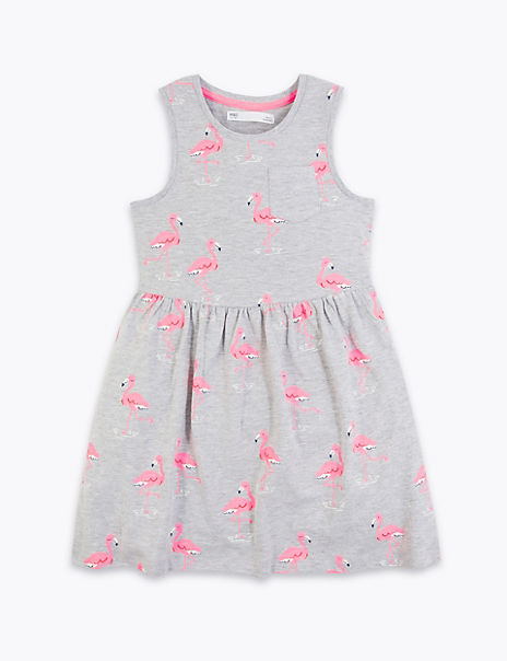 Cotton Rich Flamingo Print Dress