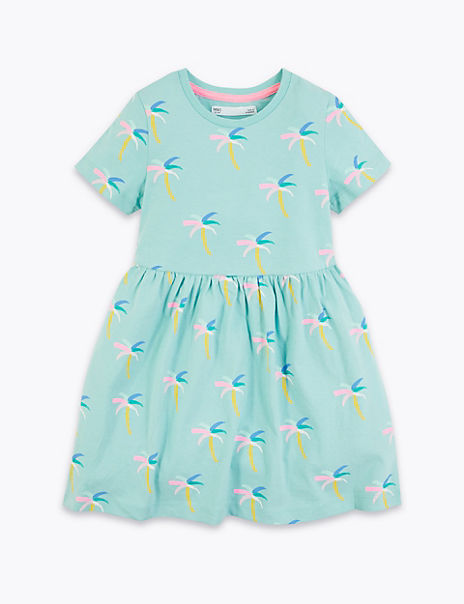 Cotton All Over Palm Print Dress (2-7 Years)