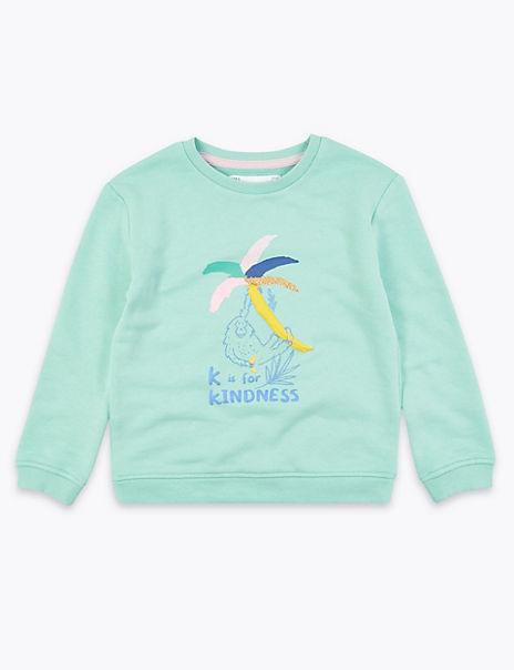 Cotton Rich Kindness Slogan Sweatshirt (2-7 Yrs)