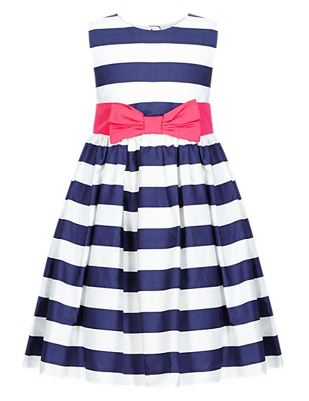 Pure Cotton Striped Party Dress (1-7 Years)