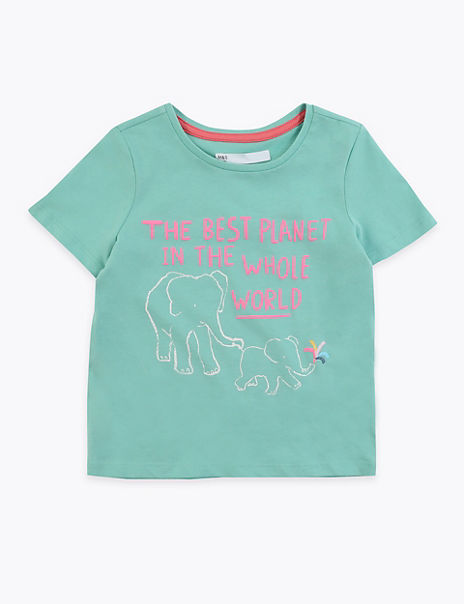 Cotton Rich Elephant Print T-Shirt (2-7 Years)