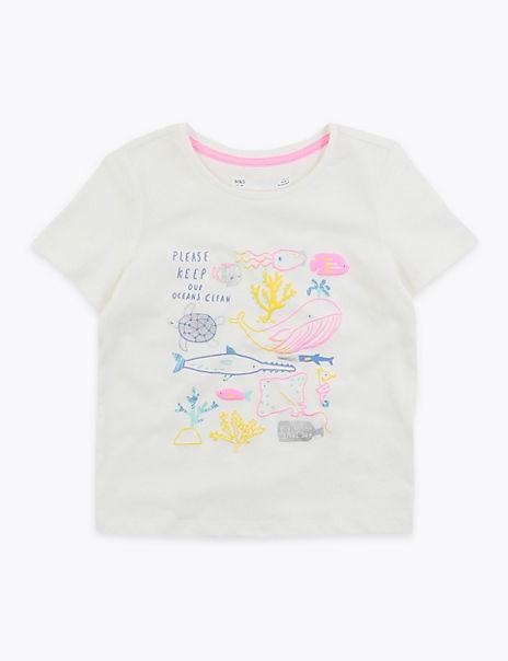 Cotton Sealife Creatures T-Shirt (2-7 Years)