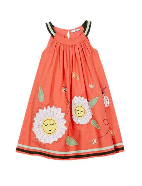 Pure Cotton Appliqué Trapeze Dress (1-7 Years)